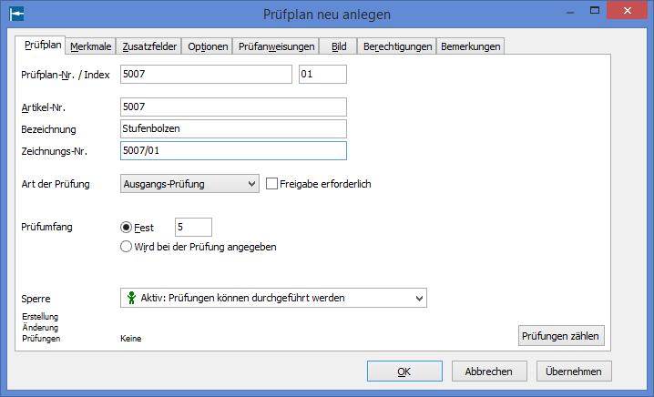 METER Bildschirmfoto: Prüfplan